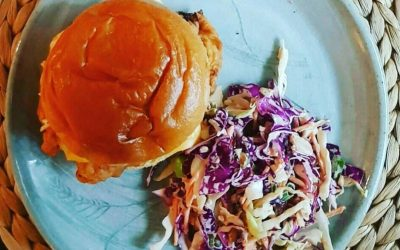 Buttermilk chicken burger with kimchee slaw & Pineapple and Cardamom Jam