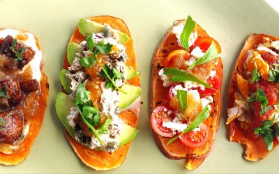 Sweet Potato 'Toast' with Four Toppings